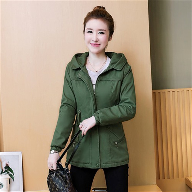 Female Windbreaker Spring Autumn Clothes New Korean Hooded Outerwear Short   Trench   Coat Women Solid Casual Tops Student Coats