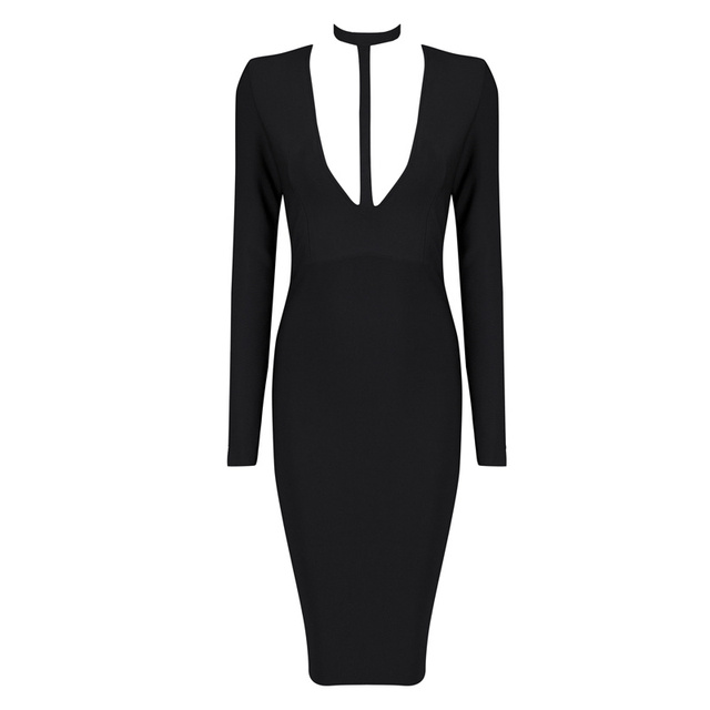 Women Winter Fashion Sexy Long Sleeve Black Blue White Rayon HL Bandage Dress  2016 Ladies Slim Bodycon Bandage Dress 754e8135e244