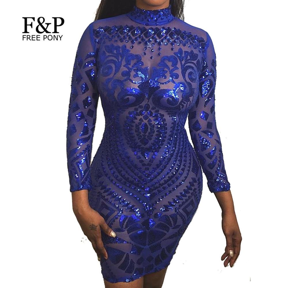 1920s Flapper Royal Blue Dress Sequin Bodycon Dress Long