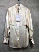 Брендовая шелковая атласная рубашка накидка стиль с длинными рукавами на пуговицах 2019SS буквенным принтом логотипа манжеты и воротник