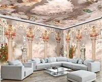 עמודה רומית חלומות טפט דקורטיבי בכיר beibehang עננים וערפל חד קרן טפט 3d קיר רקע מותאם אישית