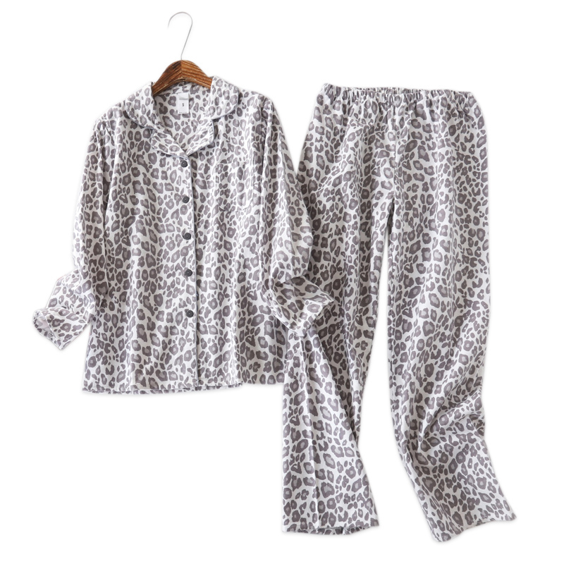 Sexy Leopard   pajamas     sets   women 100% brushed cotton winter warm ladies homewear mujer casual flannelette pyjama   set   for women