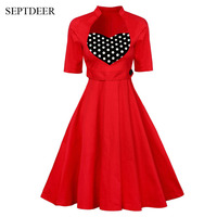 SEPTDEER Europe And The United States Retro Style Polka Dot Heart Patchwork Large Swing Dress Vestido Ladies Wear S XXL MSF122