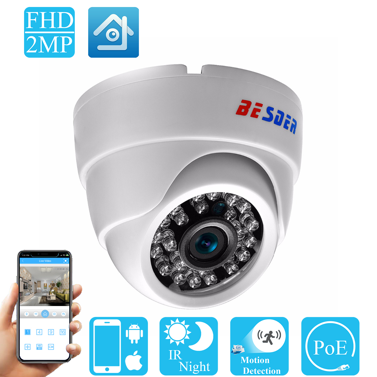 Besder 2.8mm Wide Angle Ip Camera 720p 960p 1080p P2p H.264 Onvif Rtsp 48v Poe Small Cctv Indoor Dome Surveillance Video Camera Commodities Are Available Without Restriction