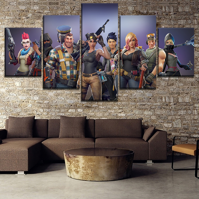 Canvas Printed Pictures Home Decorative Wall Art Framework 5 Pieces Game Fortnite Role Painting Modular Poster For Living Room 2