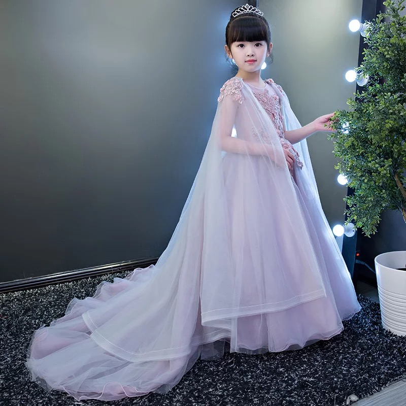 Luxury Spring New Children Girls Wedding Birthday Party Ball Gown Mesh Dress With Trailing Kids Model Show Pageant Long Dress 4pcs new for ball uff bes m18mg noc80b s04g