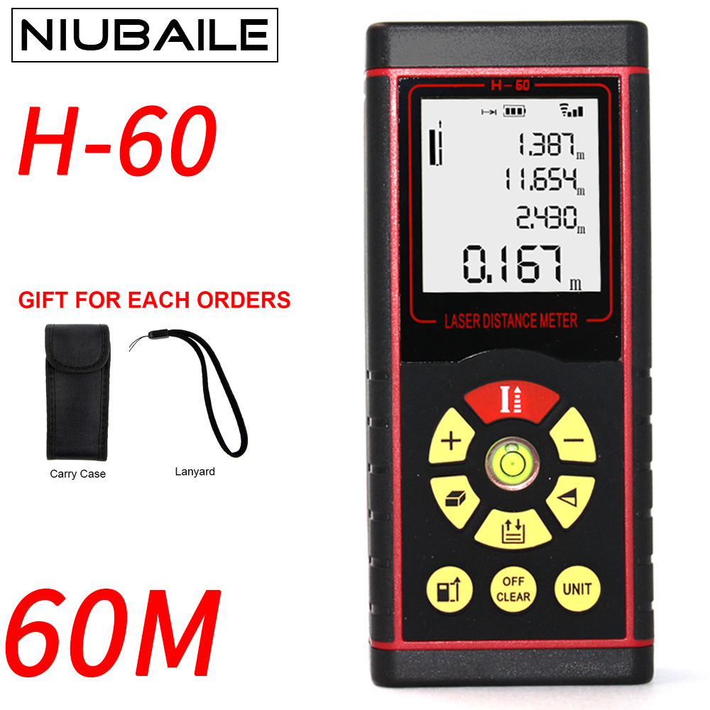 Niubaile 60 м Цифровой Мини электронная Лазерные дальномеры электронный лазерный дальномер точность 2 мм Максимальная лазерная рулетка дальном...