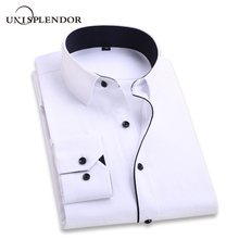 2018 Men Wedding Shirt Long Sleeve Men Dress Shirts Man Business Party Solid Casual Shirt Work Wear Formal Slim Male Shirt YN554