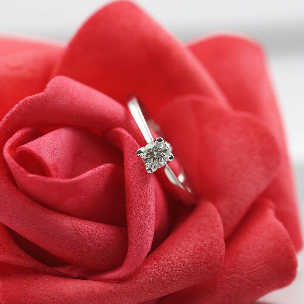 Lasamero 0.223 ct ij/VS круглой огранки природных кольцо с бриллиантом для Для женщин 18 К белого золота сертифицированы Обручение кольцо любовь сваде...