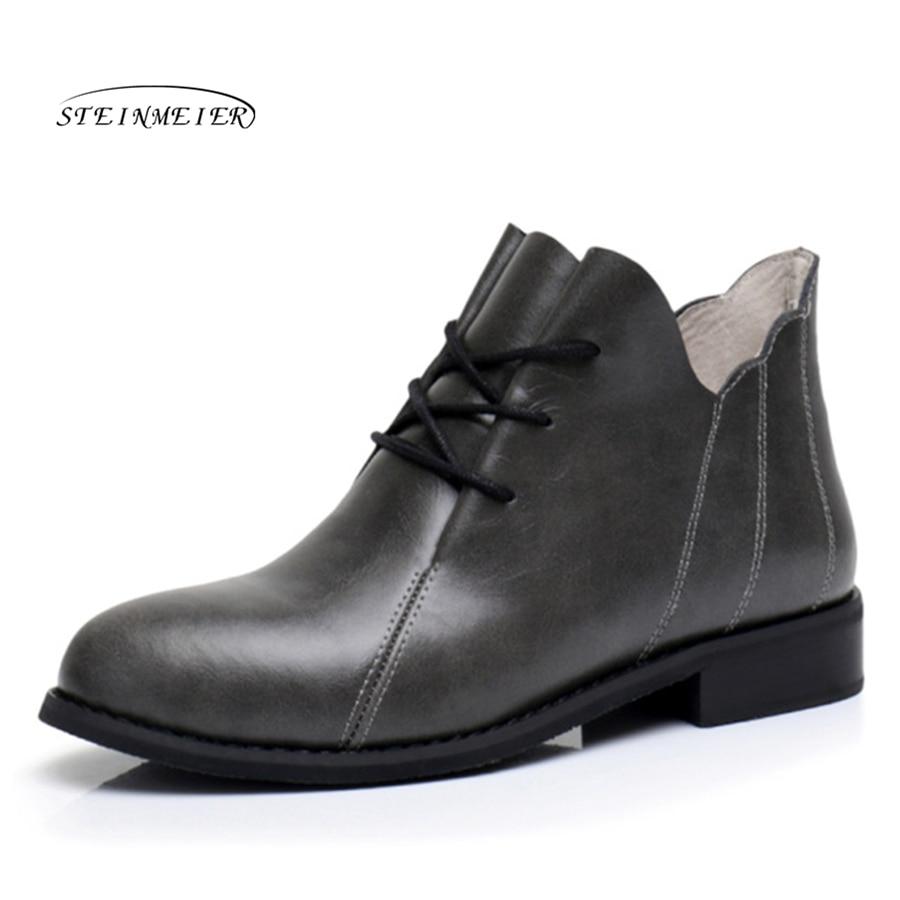 цены на Genuine Leather Ankle Boots Comfortable quality soft Shoes Brand Designer Handmade big US 9.5 with fur 2018 grey spring
