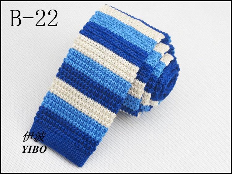 new blue knitted tie/Milky white alternate Horizontal stripes design/Han edition style fashion necktie