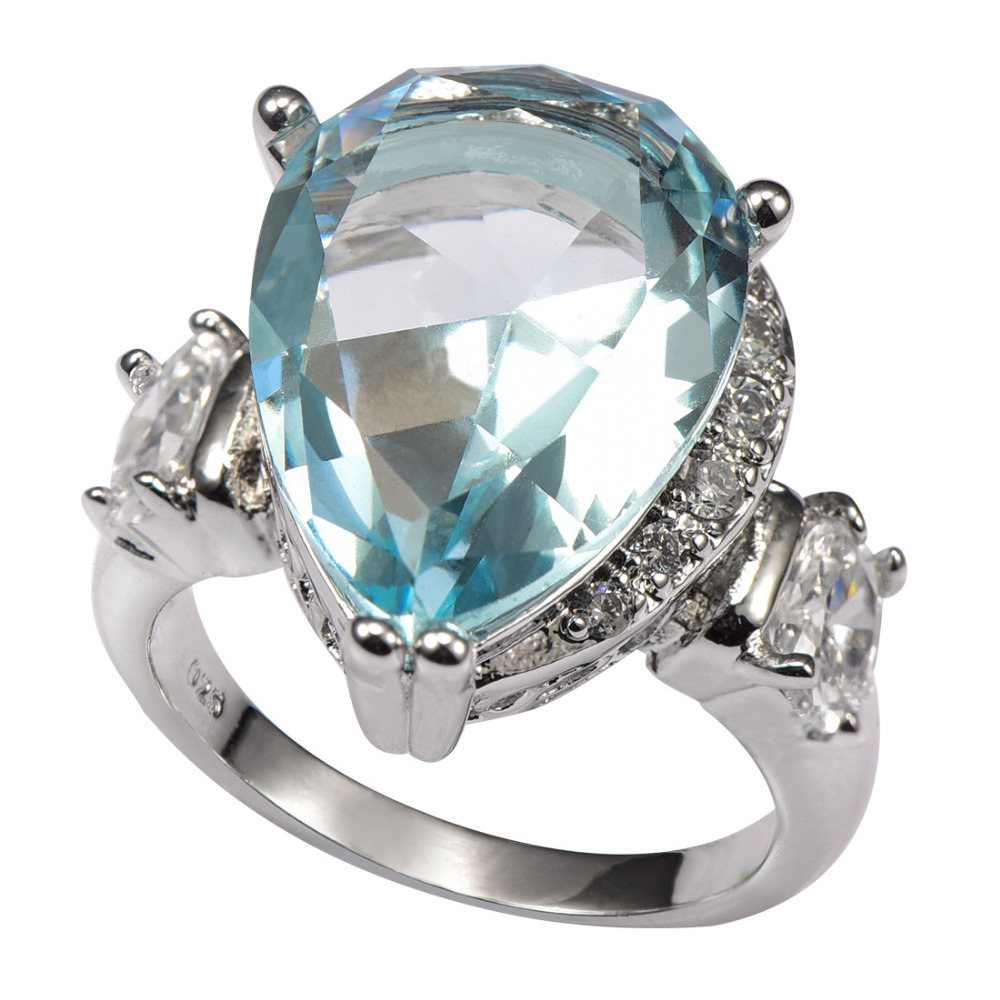 Simulated Aquamarine White Crystal Zircon 925 Sterling Silver Ring Factory  Price For Women Size 6 7