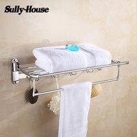 Sully House Stainless Steel Bathroom Folding Towel Racks,Double Bath Towel Holder with Robe Hook,Shower room Chrome Towel Shelf