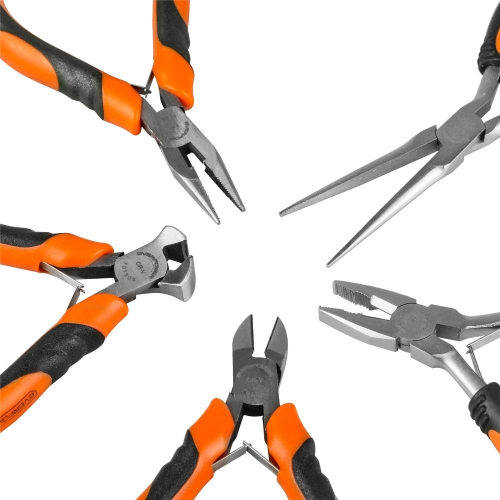 EVERPOWER 5PCS 4 5 Mini Plier Set Combination Diagonal Side Cutting Long Nose Multi Tool Pliers