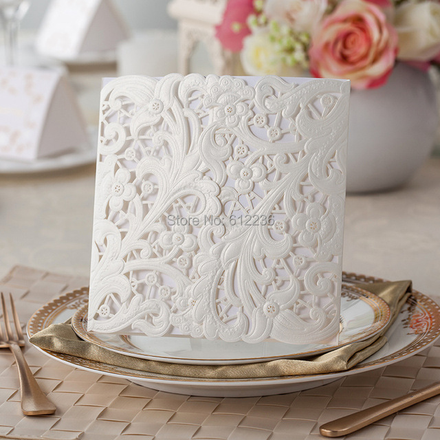 White Lace Flora Wedding Invitations 2014 New Invitations Cards Wedding Favors Free shipping Wholesale Beautiful Wedding Items