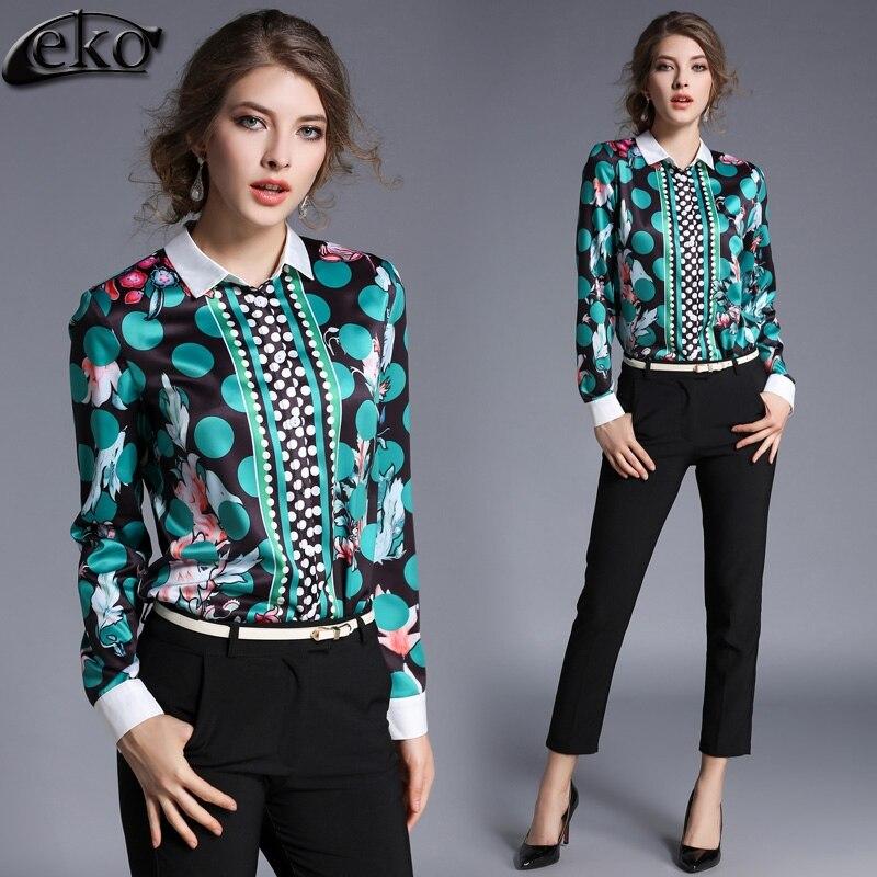 Европейский Для женщин блузка 2017 весенние блузки Рубашки для мальчиков женский с длинным рукавом Винтаж дамы Блузки для малышек моды горош... ...