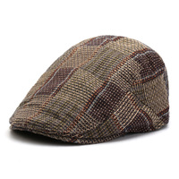 2018 Male Autumn Winter Beret Cotton Flat Hats Plaid Cap Men Adjustable Newsboy Caps