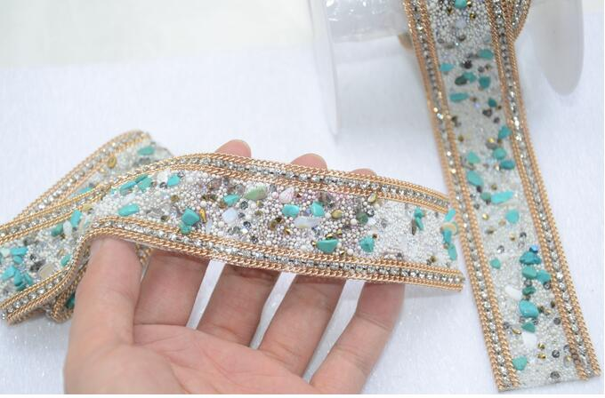 Personalized jewelry clothing stone stick Turquoise belt for dress shoes gem diamond clothing chain