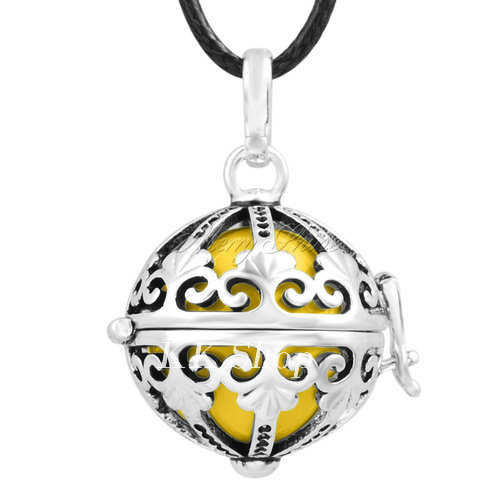 Беременность подарок для ребенка из черненого Медь в форме металлической птичьей клетки кулон ангел абонент Подвески 20 мм Музыкальный шар, гармония Bola кулон Цепочки и ожерелья H119 - Окраска металла: Light yellow