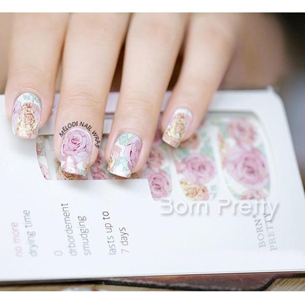 14pcs/ Sheet Beautiful Pink Floral Pattern Nail Wraps Pink Roses Woman Nail Art Full Stickers MDS1014