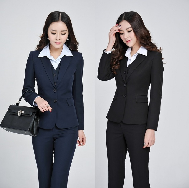 2196773e5934 Formal Elegant Pantsuits Uniform Design Business Suits Jackets And Pants  Professional Office Ladies Work Wear Blazers Set S-4XL