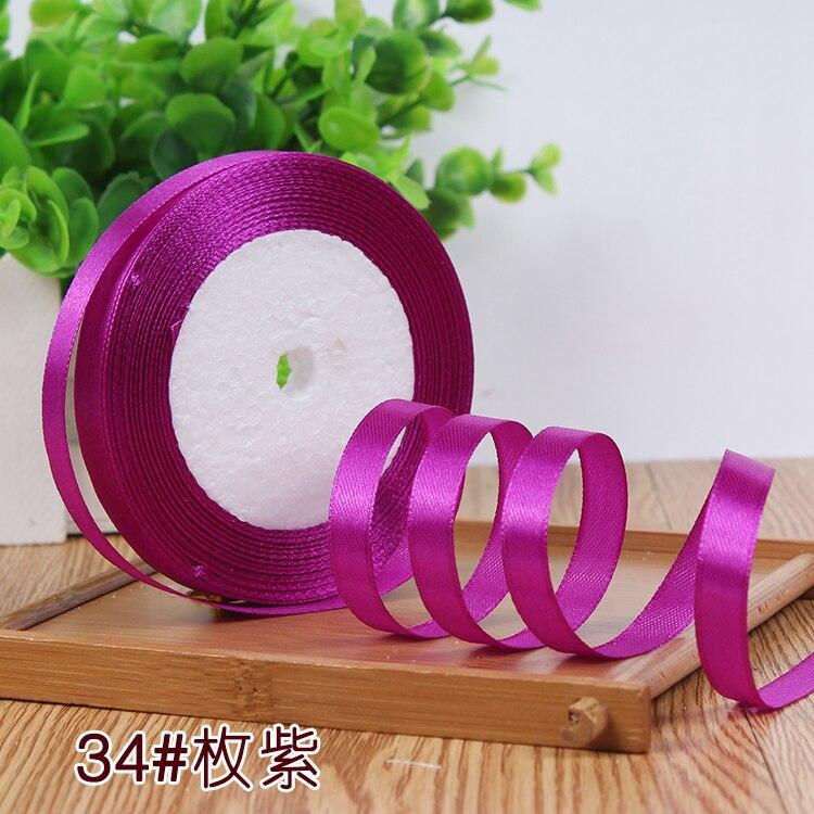 10 мм, 25 ярдов, односторонняя шелковая сатиновая лента, дешевая декоративная подарочная упаковка, Свадебные Рождественские ремесла, белые, розовые, красные, черные ленты - Цвет: 69 Purple