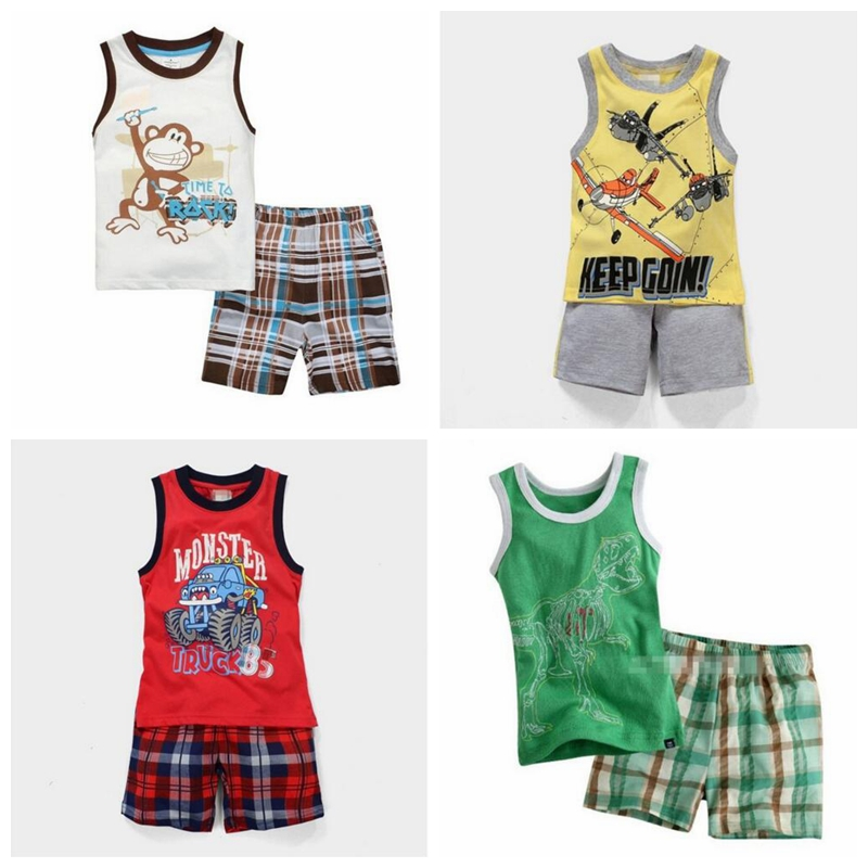 Baby Summer Clothes Boys | Summer Sleeveless Baby Boy Clothes Suits 100% Cotton Children T Shirts Shorts Pant Singlet Vest Plaid Panties Beach Kid Tank Top