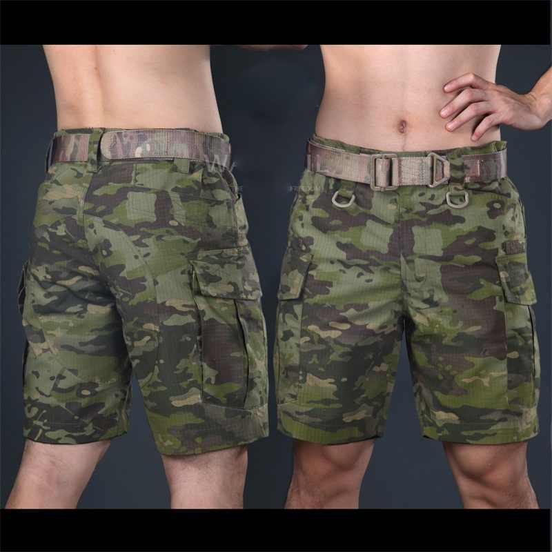 戦術的なマルチカム軍事ショーツマルチカム熱帯膝丈ショートパンツ trainning 迷彩リップストップショーツアーミーパンツ