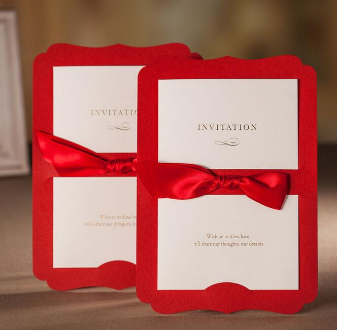 Us 67 0 50pcs Lot Cw3073 Red Classical Style Ribbon Bow Invitation Card For Wedding Or Opening In Cards Invitations From Home Garden On