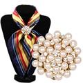 A nova pedra Rhine broche de flor broche de jóias incrustadas simples feminino dual-purpose scarf buckle