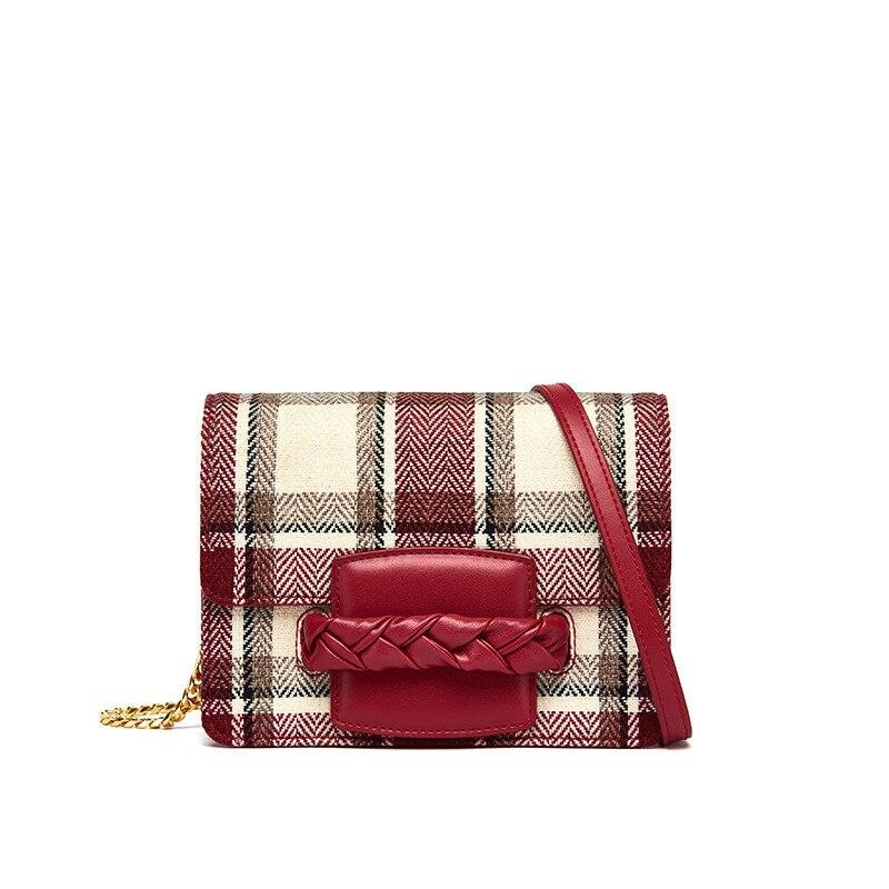 2018 Women Ladies Striped Black Handbags Genuine Leather Chains Handbag Mini Red Flap Shoulder Bag Messenger Bags stylish striped and metallic chains design shoulder bag for women
