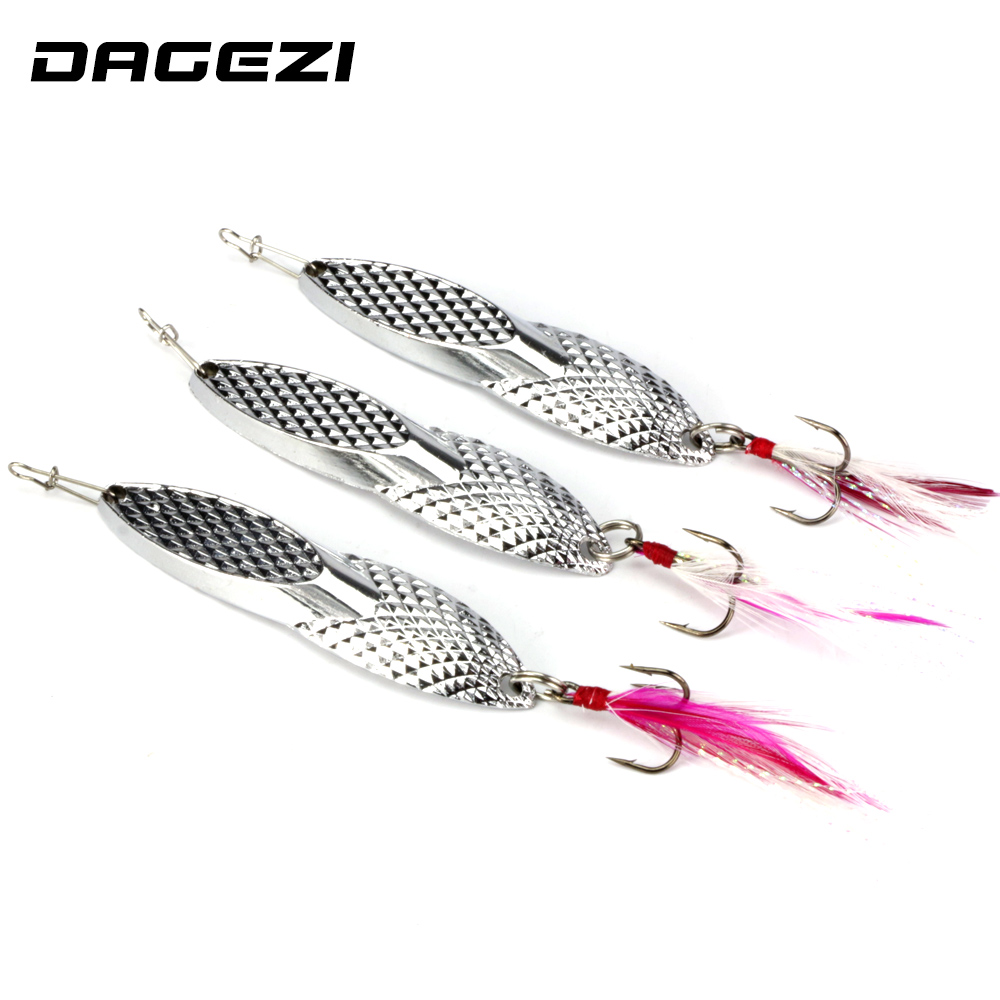 DAGEZI 18g Metal Sequins Fishing Lure Spoon Lure with Feather Noise Paillette Hard Baits Treble Hook Pesca Fishing Tackle dagezi metal spinner spoon fishing lure hard baits sequins noise paillette with feather treble hook tackle 10 15 20g