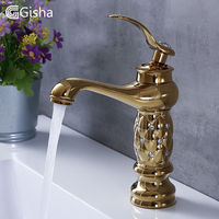 Gisha Bathroom Basin Faucets Classic Brass Diamond Faucet Single Handle Hot And Cold Tap Gold Crystal Mixer Washbasin Faucets