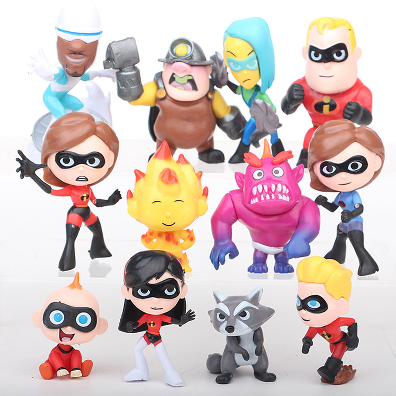 12 Pcs/set Disney The Incredibles 2 Movie Super Man Family Figure Action Toys Children Kids Toy Collection Birthday Gift 6pcs set movie trolls 4 3inch height figures toys cake topper kids birthday gift children funny toys