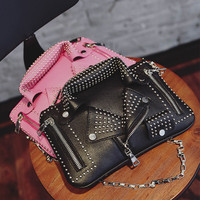 High Quality Handbags Women PU Leather Jacket Bags Women Clothing Motorcycle Shoulder Messenger Bag Day Clutch