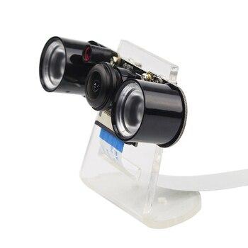 4 Raspberry Pi Modelo B/3B + Câmera Night Vision Wide Angle Fisheye Camera Webcam + 2 5MP Infravermelho IR Luzes LED + Suporte Acrílico