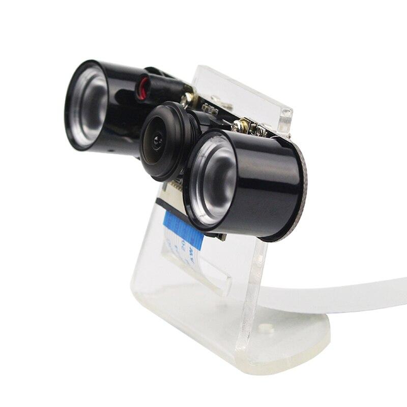 Raspberry Pi 3 Modelo B + cámara de visión nocturna gran angular cámara de ojo de pez 5MP Webcam + 2 luces LED infrarrojas IR + soporte acrílico