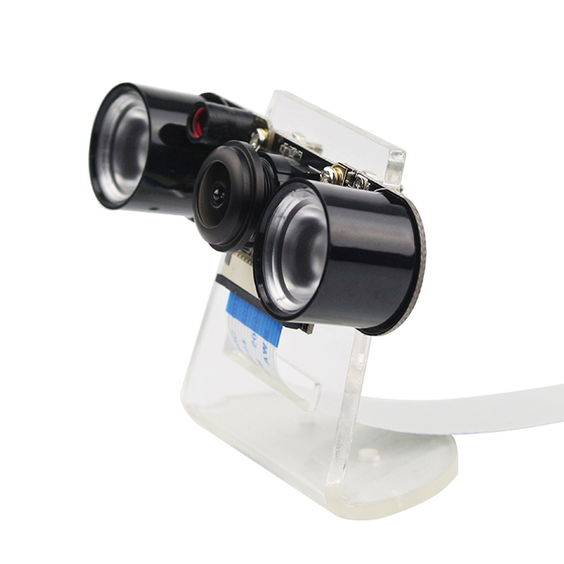 Raspberry Pi 4 Model B/3B+ Camera Night Vision Wide Angle Fisheye Camera 5MP Webcam + 2  Infrared IR LED Lights + Acrylic Holder