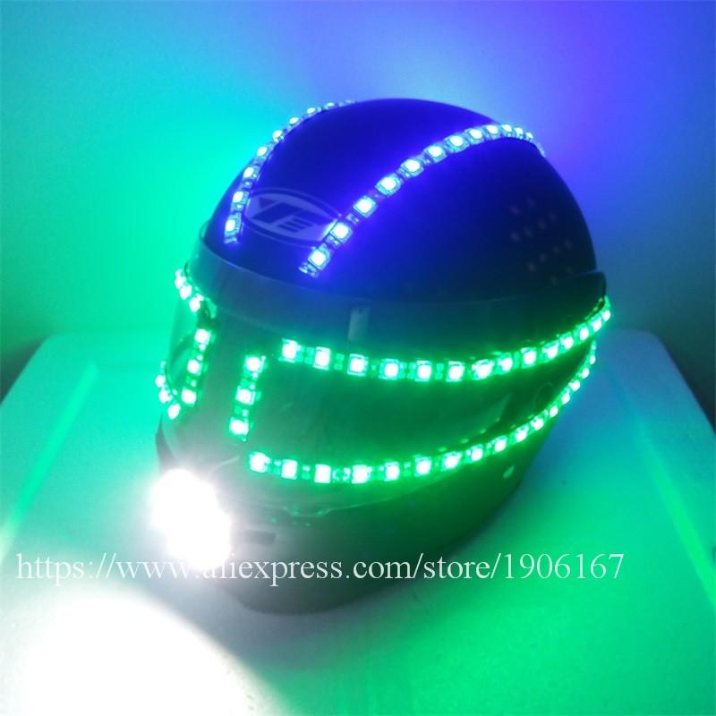 Colorful led luminous robot helmet03