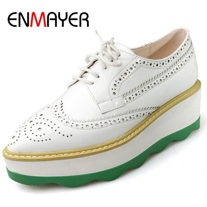 ФОТО ENMAYER 3 Colors White Shoes Woman Platform Pumps Sexy High Heels Flowers Shoes Lace-up Large Size 34-42 Oxford Shoes Womens