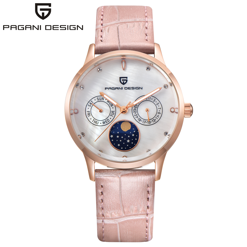 PAGANI DESIGN Women Watches Fashion Waterproof Leather Bracelet Ladies Quartz Wrist Watch Week Date Clock Saat Relogio Feminino casima women watches waterproof fashion ladies leather rhinestone gold quartz wrist watch clock woman 2018 saat relogio feminino