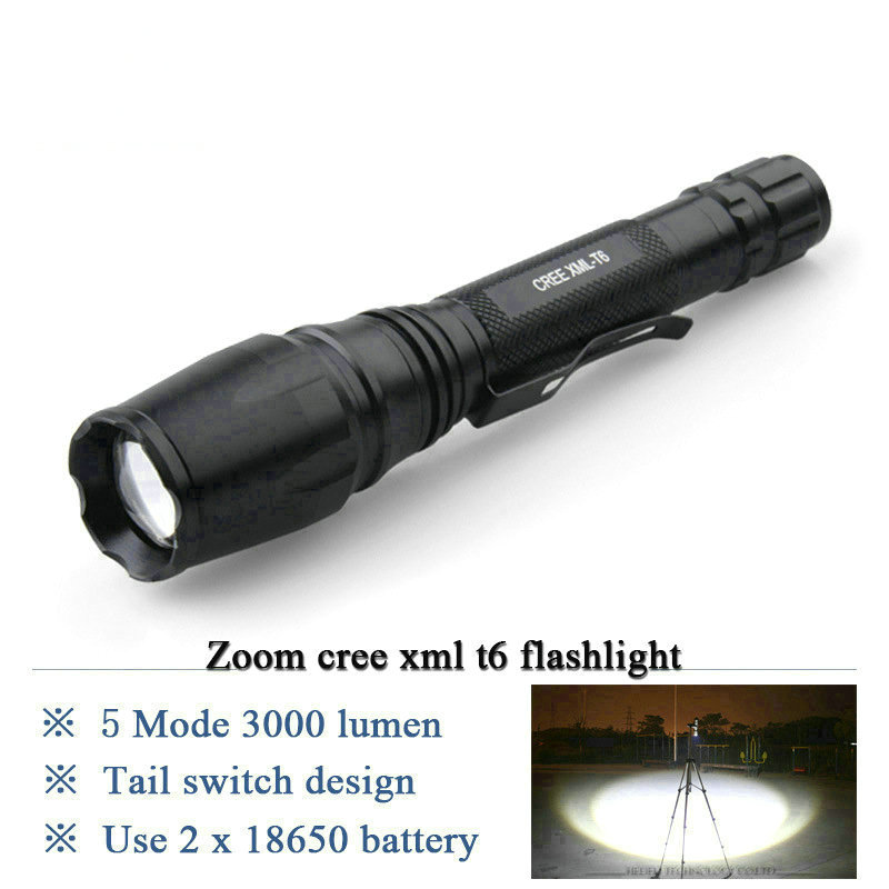 zoomable cree xml t6 t6 flashlight led torch waterproof. Black Bedroom Furniture Sets. Home Design Ideas