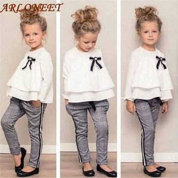 2019 Fashion Baby Kids clothes Girls Clothing Set 2PCs Spring Autumn Outfits Ruffle T Shirt Tops+Checked Pants Clothes Set CC# spring outfits for kids