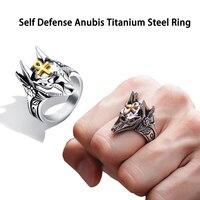 Unisex Zelfverdediging Ring Punk Anubis Egyptische Kruis Beast Anti-wolf Vinger Ring Titanium Staal Vintage Wolf Ringen Gift anel
