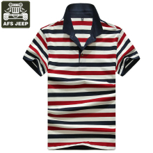 d64e1c43 AFS JEEP Polo Shirt Men Striped Polo Men Short Sleeve Turn-down Collar Polos  Para
