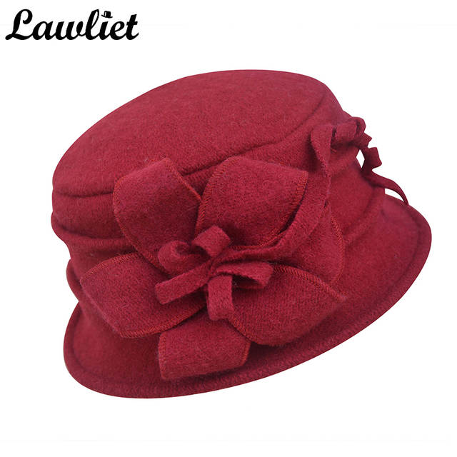 Online Shop Lawliet Women Winter Hat Warm Pure Wool Cap Elegant Flower Floppy  Hat Middle Age Female Fedoras Lady Cloche Bucket Church Hat  76f792d0bcd8