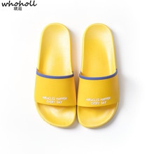 WHOHOLL 2019 Summer Home Slippers Man Women Couple Beach Flip Flops Non-slip Fashion Casual Letter Bathroom
