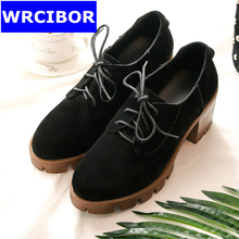 2017 NEW vintage Women Oxford shoes genuine leather Round toe Cow Muscle bottom high heels women pumps shoes Brown
