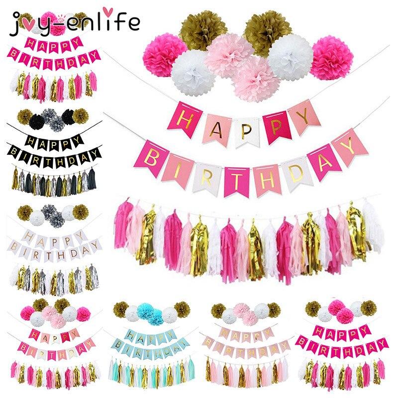 JOY-ENLIFE D'anniversaire Décor Papier Boule De Fleurs Glands Garçon Fille Joyeux Anniversaire Bannière Décor Baby Shower Enfants Partie Parfaite Fournitures