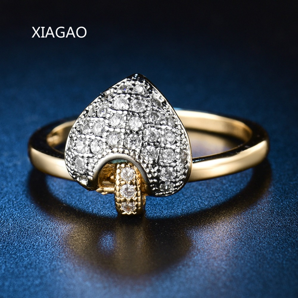 Xiagao Retro Style Copper Ring Female Costume Jewelry Rings For Women  Goldcolor With Mirco